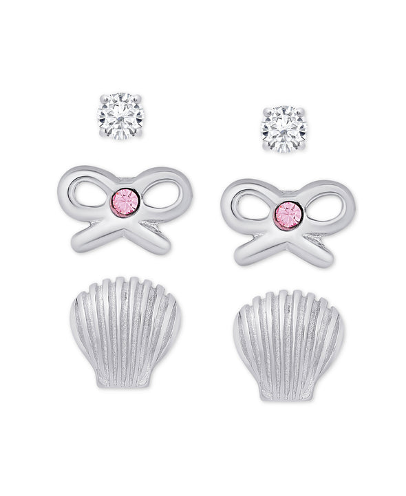 3-Pair CZ Stud Earrings Set in Sterling Silver