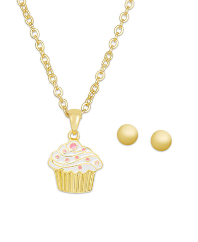 Cupcake Pendant & Ball Stud Earrings Set in 18K Gold over Sterling Silver