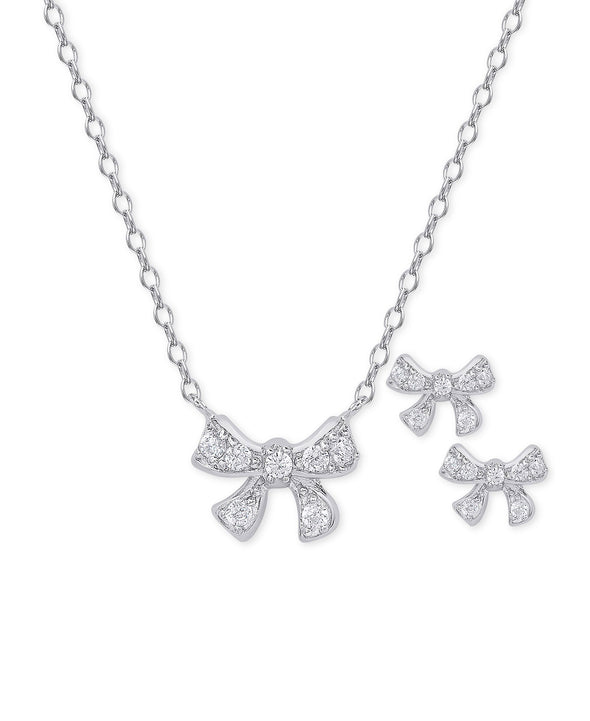 CZ Bow Pendant and Stud Earrings Set in Sterling Silver