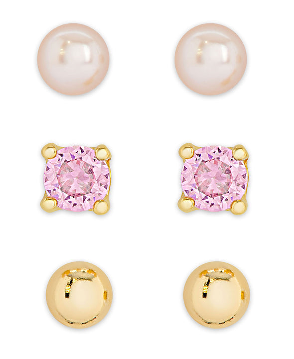 Freshwater Pearl & CZ Stud Set in 18k Gold over Sterling Silver
