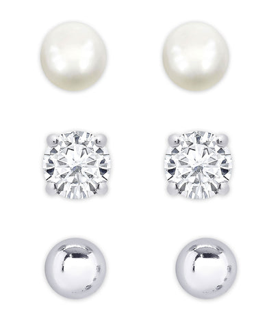 Freshwater Pearl & CZ Stud Set in Sterling Silver