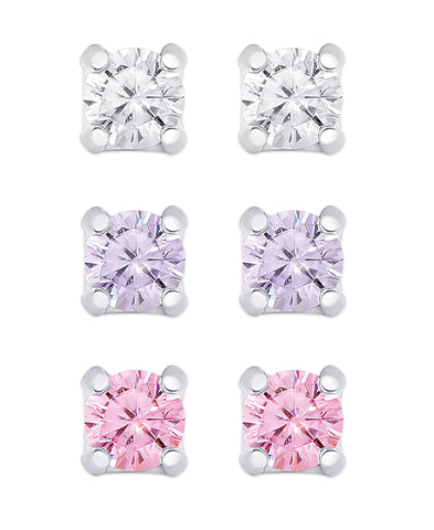 CZ Studs Set in Sterling Silver (White, Lavender, Pink)
