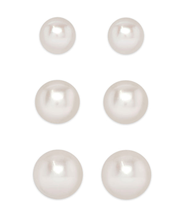 Graduated Freshwater Pearls Stud Set in Sterling Silver