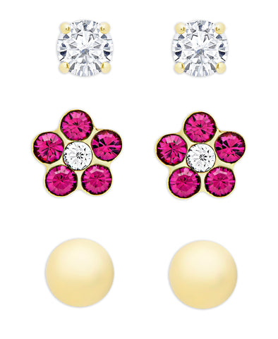 CZ, Crystal Flower, & Gold Ball Stud Set in 18K Gold over Sterling Silver