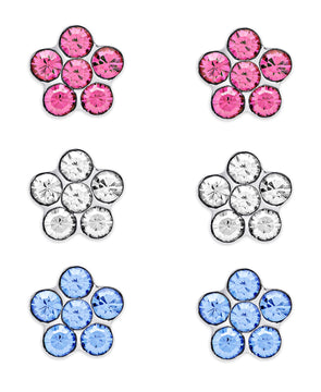 Crystal Flowers Stud Set in Sterling Silver