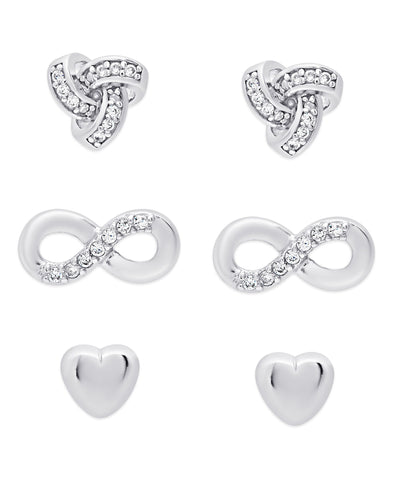 'Love Love Love' CZ Stud Set in Sterling Silver (Love Knot, Infinity, Heart)