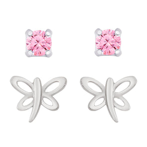 Dragonfly and Pink CZ Stud Set in Sterling Silver