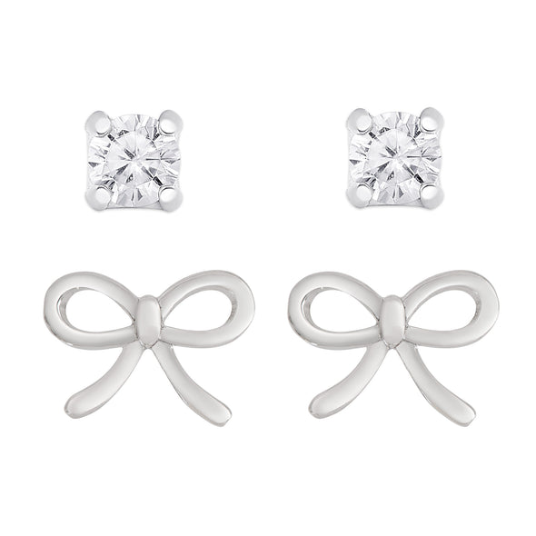 Bow and CZ Stud Set in Sterling Silver