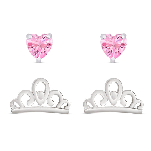 Princess Tiara and Pink Heart CZ Stud Set in Sterling Silver