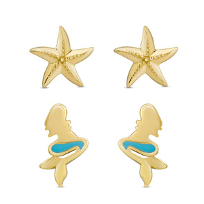 Mermaid and Starfish Stud Set in 18k Gold over Sterling Silver