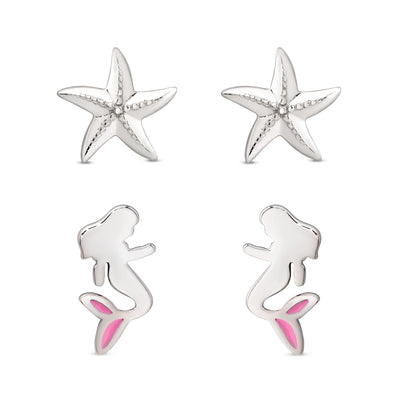 Mermaid and Starfish Stud Set in Sterling Silver