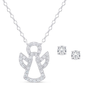 CZ Angel Pendant and Studs Set in Sterling Silver