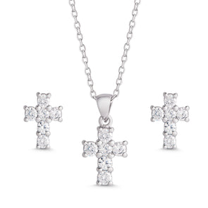 CZ Cross Pendant and Stud Earrings Set in Sterling Silver