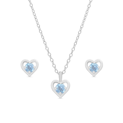 Blue CZ Heart Stud and Necklace Set in Sterling Silver