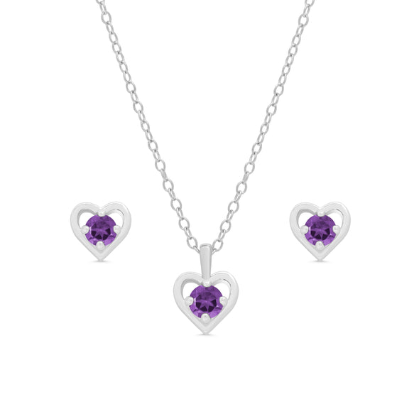 Purple CZ Heart Stud and Necklace Set in Sterling Silver