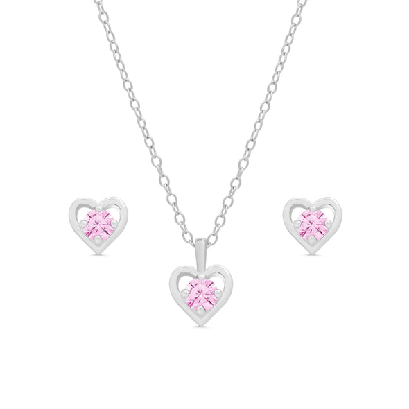 Pink CZ Heart Stud and Necklace Set in Sterling Silver