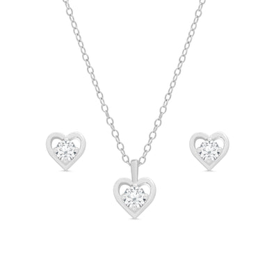 CZ Heart Stud and Necklace Set in Sterling Silver
