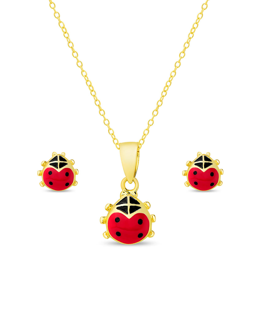 Ladybug Pendant and Stud Earrings Set-1