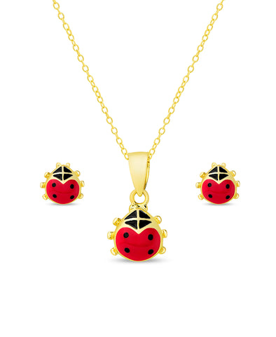 Ladybug Pendant and Stud Earrings Set