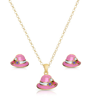Bucket Hat Pendant and Stud Earrings Set