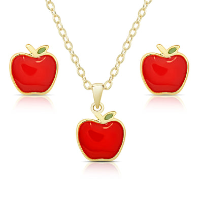 Apple Pendant and Stud Earrings Set