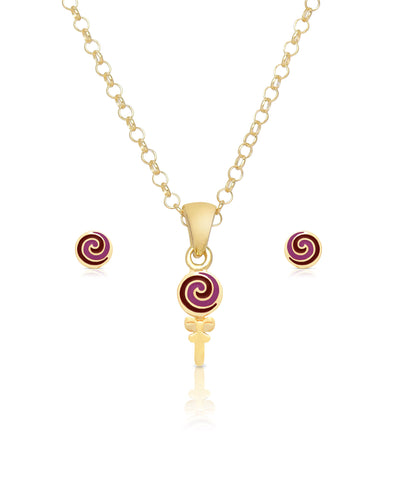 Lollipop Swirl Pendant and Stud Earrings Set