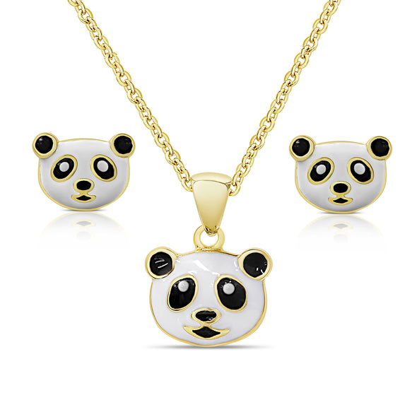 Panda Bear Pendant and Stud Earrings Set