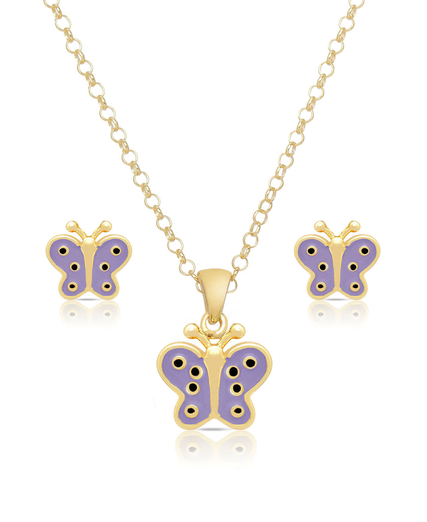 Butterfly Pendant and Stud Earrings Set (Purple)-1