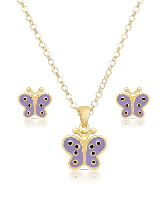 Butterfly Pendant and Stud Earrings Set (Purple)