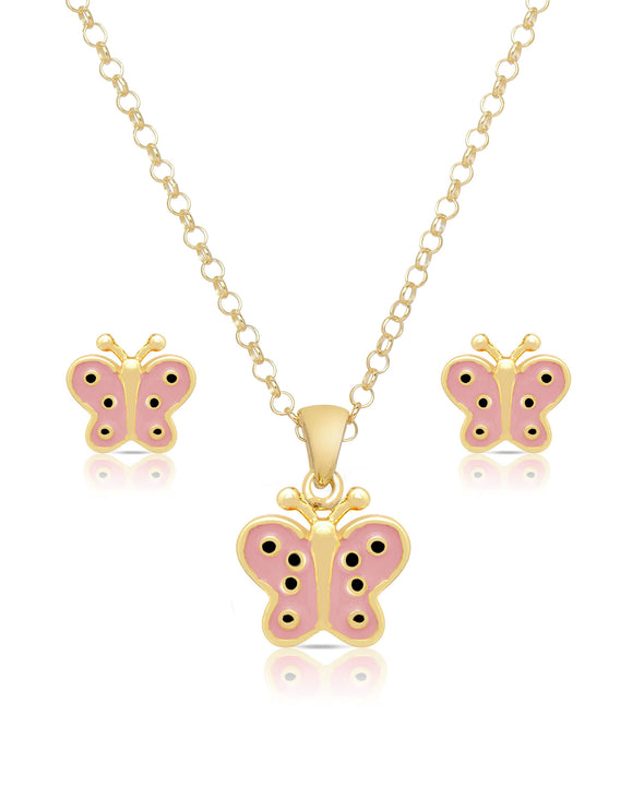Butterfly Pendant and Stud Earrings Set (Pink)