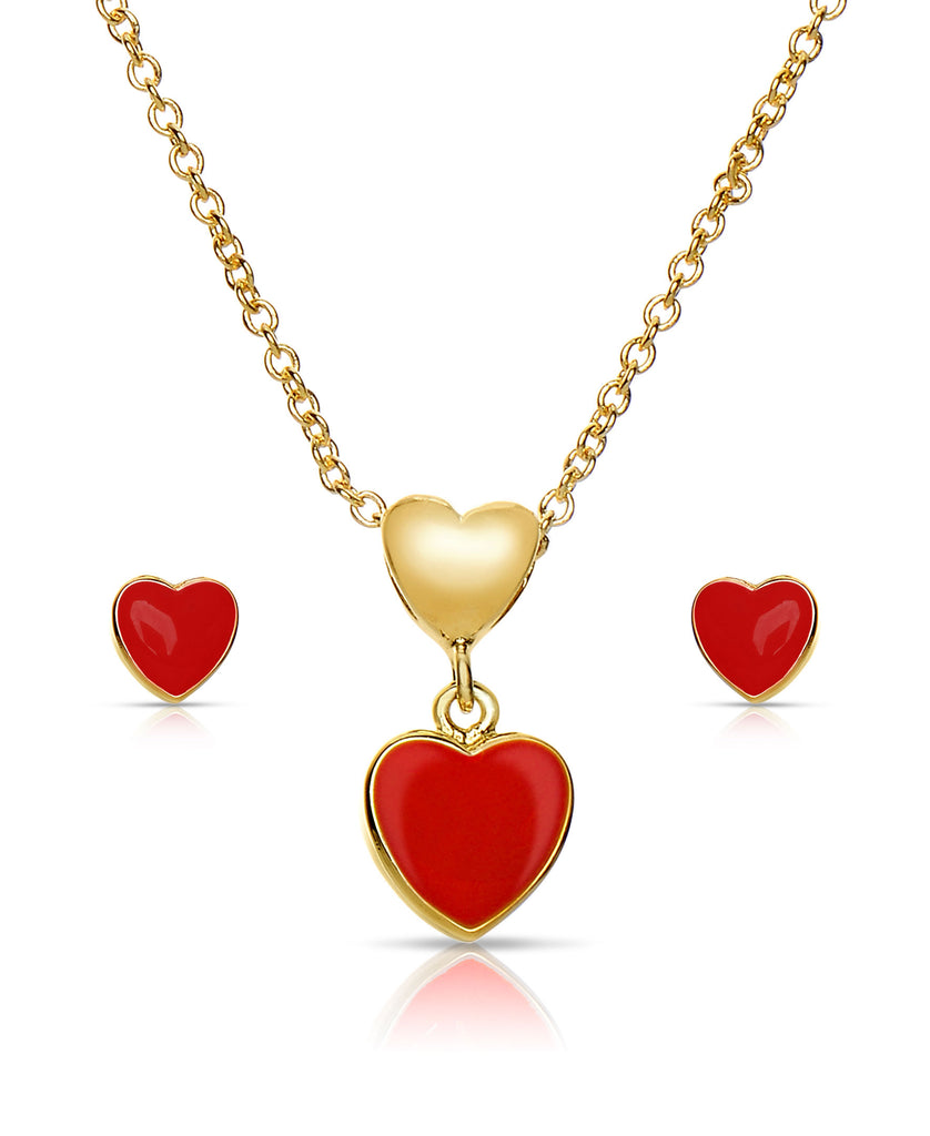 Heart Pendant and Stud Earrings Set (Red)-1