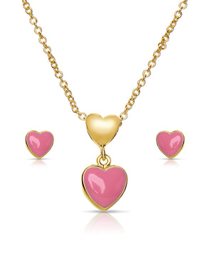 Heart Pendant and Stud Earrings Set (Pink)
