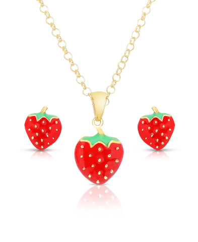 Strawberry Pendant and Stud Earrings Set