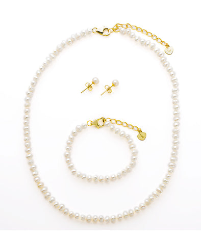 Freshwater Pearl Set in Sterling Silver - Necklace, Bracelet, Earrings