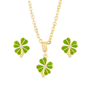 Four Leaf Clover Stud Earrings and Necklace Set
