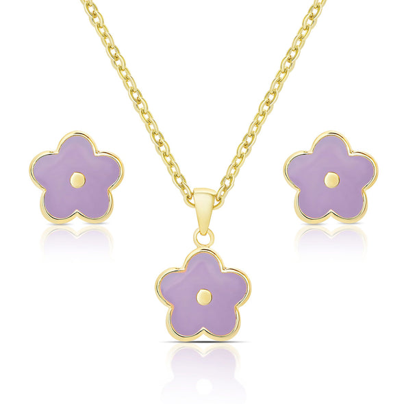 Flower Stud Earrings and Necklace Set - Purple
