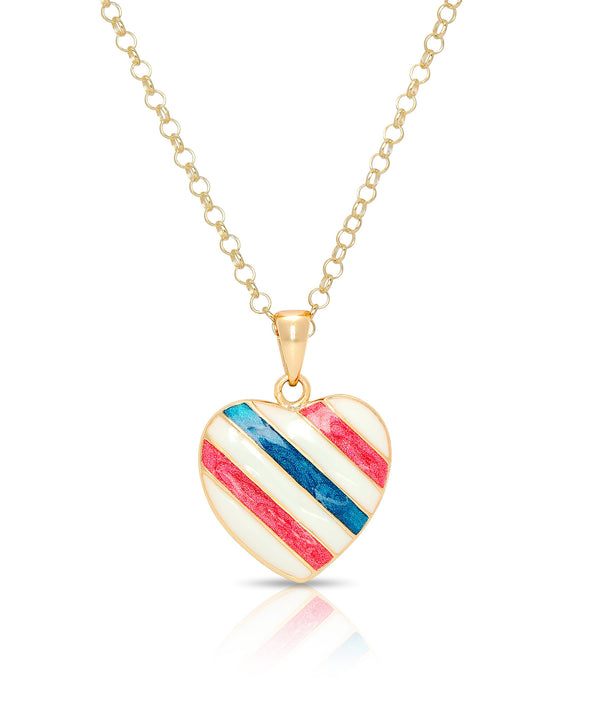 Striped Heart Pendant (Red White & Blue)
