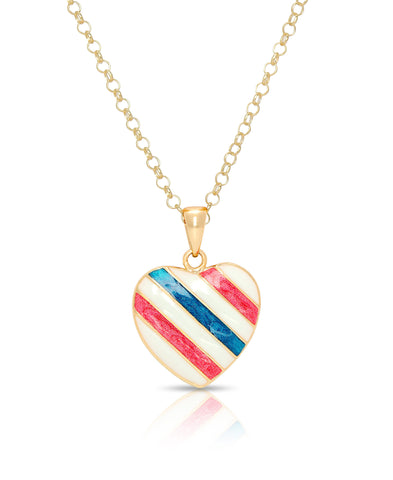 Red White & Blue Heart Pendant