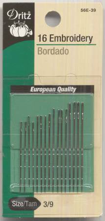 Embroidery Needles Sizes 3/9 16 ct # 56E-3-9