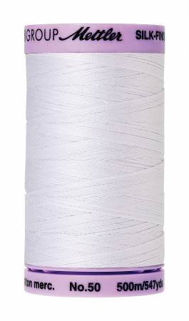 Silk-Finish 50wt Solid Cotton Thread 547yd/500M White # 9104-2000