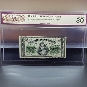 Dominion of Canada 1870 25 cents, BCS VF-30