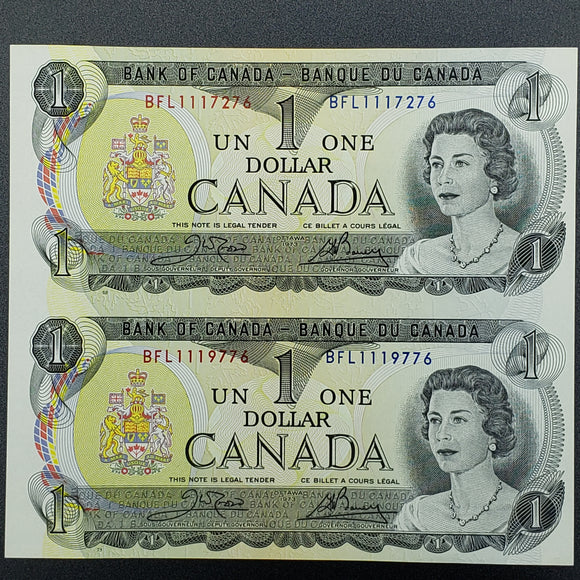 Canada 1973 $1, Two Note Uncut Block