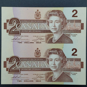 Canada 1986 $2, Thiessen-Crow EBB, Two Note Uncut Block