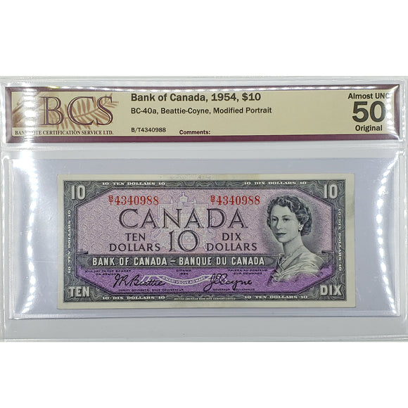 1954 Bank of Canada $10, Modified, BCS AU-50 Original