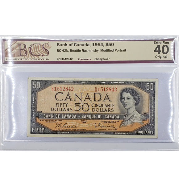 1954 Bank of Canada $50, Modified, Changeover, BCS EF-40 Original