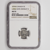 Canada 5 Cents 1874H, Large Date, Crosslet 4, NGC AU-55