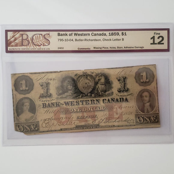 Canada, The Bank of Western Canada 1859 $1, BCS F-12