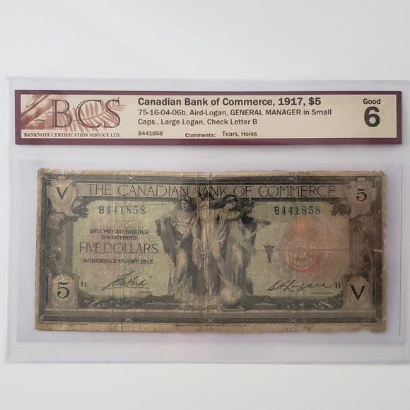 Canada, The Canadian Bank of Commerce 1917 $5, BCS G-6