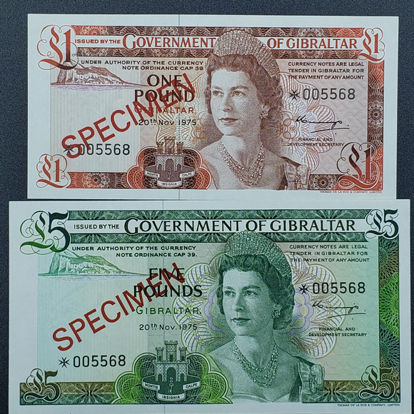 Gibraltar 1975 Specimen Note Set, Gem Unc