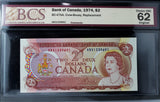 1974 Bank of Canada $2, Replacement, BCS Certified CUNC-62 Original